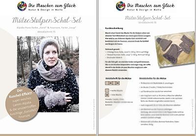 © die-maschen-zum-glueck.de Strickanleitung Loop Mütze Bommel Schal Stulpen Pulswärmer