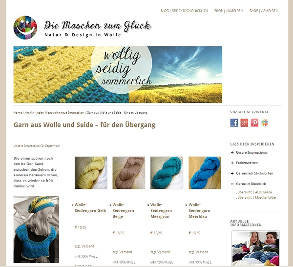 © Die Maschen zum Glück | Online-Shop für Wolle Website Wolle