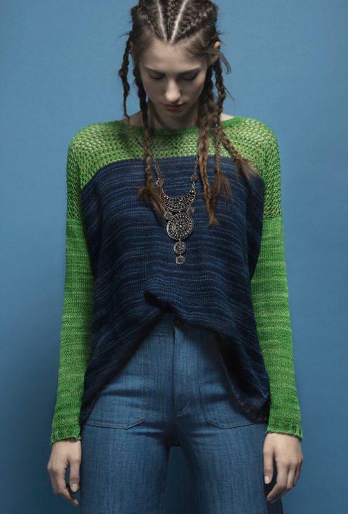 El Linio | Oversized Pullover asu 100% Leinen | Anleitung gratis bei Gernkauf | © Schoppel Wolle